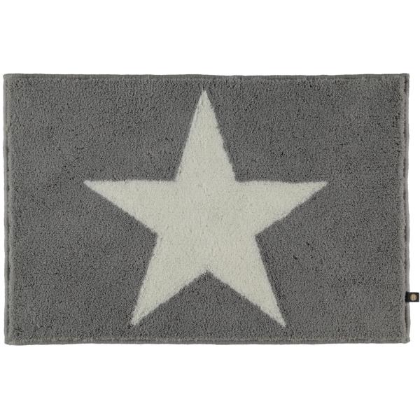 Rhomtuft - Badteppich STAR 216 - Farbe: edelstahl/weiss - 1215 70x130 cm