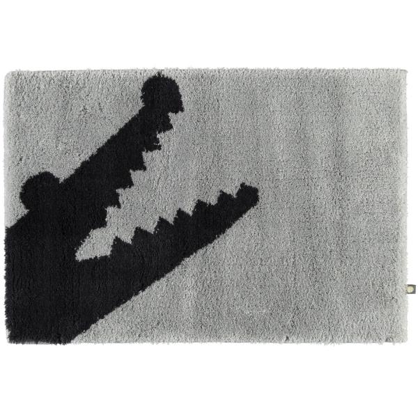 Rhomtuft - Badteppich Croc - Farbe: perlgrau/kaviar - 1212 50x65 cm