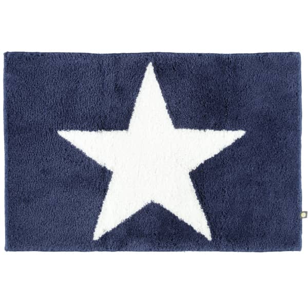 Rhomtuft - Badteppich STAR 216 - Farbe: kobalt/weiss - 756 60x90 cm