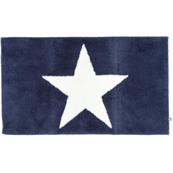 Rhomtuft - Badteppich STAR 216 - Farbe: kobalt/weiss - 756 70x120 cm